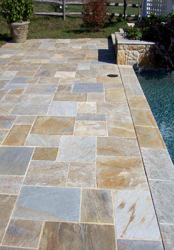 Crescent dc rectangular flagstone pool deck northern va Flagstone pavers around pool
