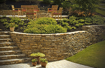 Backyard Landscaping Patio Retaining Wall