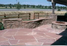 Red Flagstone Patio with Outdoor Fireplace